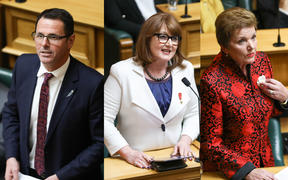 Departing MPs from left to right: NZ First MP Clayton Mitchell, National MP Maggie Barry and National MP Anne Tolley