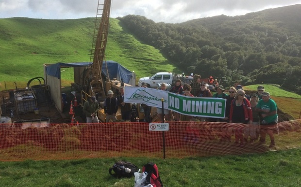 Protesters in Karangahake want Newcrest Mining to stop exploring for gold.