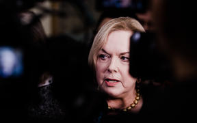 National Party leader Judith Collins speaks to media 21 July 2020 after MP Andrew Falloon resigns.