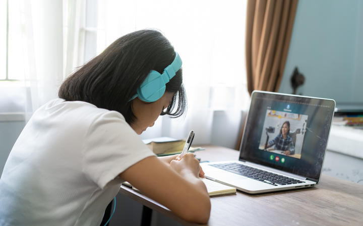 Girl studying homework online lesson at home, distance learning.