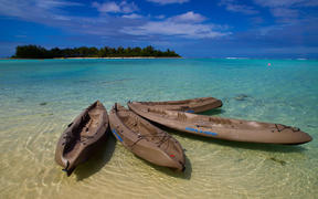 Kayaks at Muri Beach on Rarotonga, the largest island in the Cook Islands.