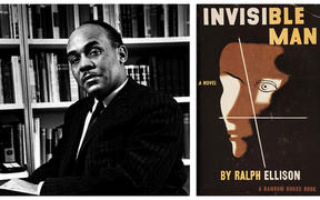 "Ralph Ellison and the cover of the 1952 first edition of his book ""Invisible Man"""