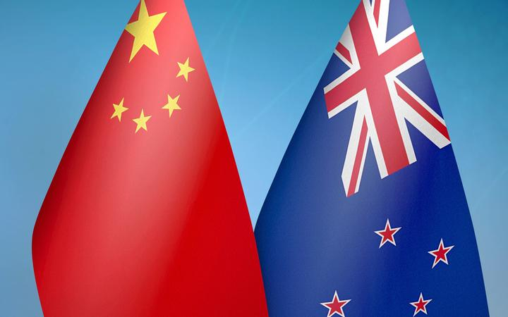 China and New Zealand two flags together blue background