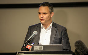 Climate Change Minister James Shaw at the University of Canterbury announcing six projects to be supported by the government's clean-powered public service fund.