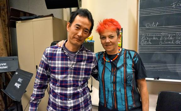 Hiroshi Ikematsu and Victoria Jones at Karr Kamp for bass players in Canada