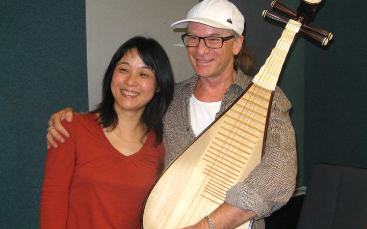 Wu Man at Radio NZ with Trevor Reekie