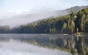 early morning mist on Lake Haupiri, a small lake near the Southern Alps, West Coast, South Island, New Zealand.