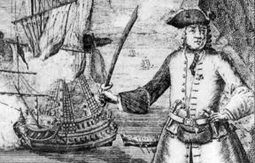 18th century engraving of pirate Henry Avery, artist unknown