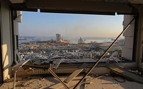 A view shows the aftermath of yesterday's blast at the port of Lebanon's capital Beirut, on August 5, 2020.