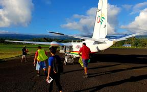 Talofa Airways flight loading at Apia's Fagali'i Airport (closed).