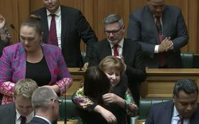 MP Clare Curran is congratulated by fellow MPs after her valedictory speech on Tuesday.