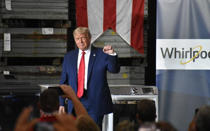 OHIO, USA - AUGUST 06 : U.S. President Donald Trump delivers remarks at Whirlpool Corporation Manufacturing Plant in Clyde, Ohio, United States on August 06, 2020.