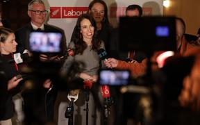 Labour leader Jacinda Ardern talks to media after Party's re-election campaign launch.
