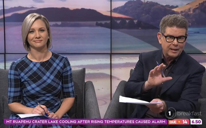 John Campbell and Hayley Holt on TVNZ's Breakfast