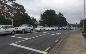In Northcote, cars were bumper to bumper as congestion built around College Rd, where there is a Covid-19 testing site.