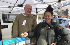 Whangarei's Trish Matthews says looking after water's definitely the most important thing for Northland Regional Council (NRC) to do in the next decade. She's seen here with NRC councillor Jack Craw at Whangarei growers market this weekend.