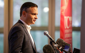 Climate Change Minister James Shaw at the University of Canterbury announcing six projects tol be supported by the government's clean-powered public service fund.