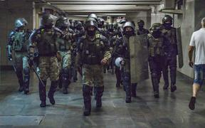 Militarized police patrols the underground of Minsk, Belarus, on August 11, 2020 preventing protests or riots after the claimed fraudulent presidential elections in Belarus.