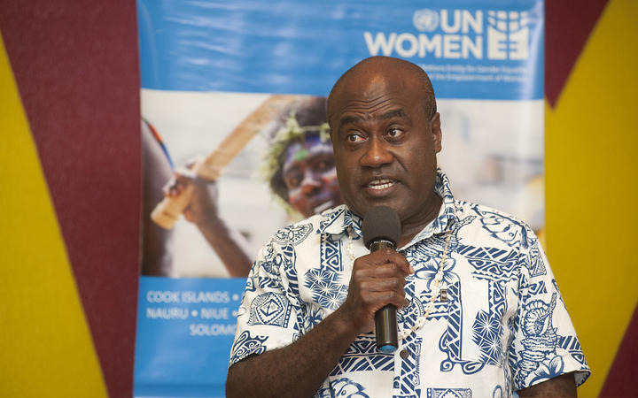 Minister of Justice and Community Services, Ronald Warsal speaks at the launch of the Women and Children's Access to the Formal Justice System in Vanuatu report