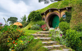 Hobbiton movie set in Matamata, New Zealand.