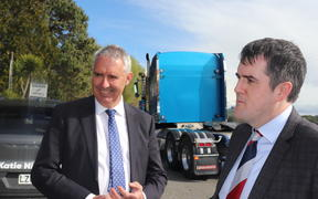 Tukituki MP Lawrence Yule (left) and National transport spokesman Chris Bishop beside State Highway 5, the Napier-Taupo Rd this morning.