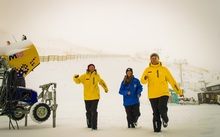 Coronet Peak staff (from left) Alice Dott, Nina Sevay and Willemijn Scholtens having fun in the snow.