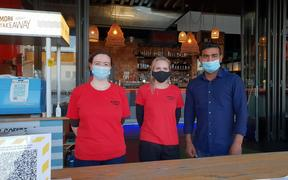 Waitresses Jenny Stewart, Tatyana Kelenc and bar manager Shiv Kumar at the North Park restaurant on Wynyard Quarter