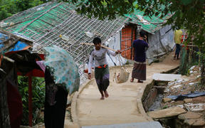 Rohingya people are seen at Jamtoli refugee camp at Ukhia in Cox's Bazar in Bangladesh on August 23, 2020.