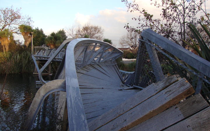 The twisted Medway bridge over the Avon River in Christchurch, following earthquake damage in 2011.