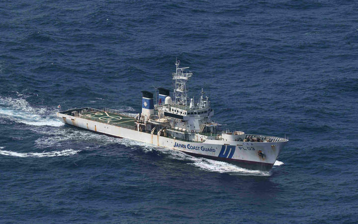 Japan Coast Guard Patrol Ship Kudaka conducts a search operation of a Panamanian freighter Gulf Livestock 1 which sent a distress signal off of Amami Oshima in Kagoshima Prefecture on Sep. 3, 2020.