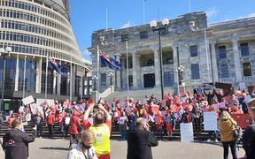 Hundreds of nurses and their supporters joined a lunch-time rally at Parliament calling on the government to step in.