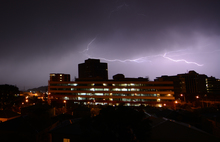 Lightning flash over a multi-storey building in Molesworth St, Wellington.