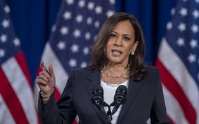 US Democratic vice presidential nominee and Senator from California, Kamala Harris, speaks on the administration of US President Donald Trump failures to contain Covid-19, in Washington, DC.