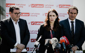 Labour Party leader Jacinda Ardern with finance spokesperson Grant Roberston and small business spokesperson Stuart Nash.