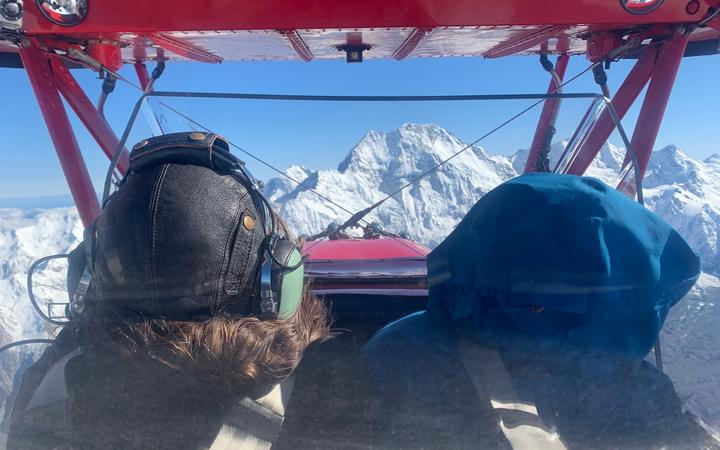 Pilot Chris Rudge says he had seven layers of clothing to brace for freezing temperatures over Mt Cook / Aoraki.