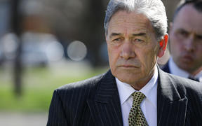 New Zealand First Party leader Winston Peters makes an election promise in Gore on 8 September, 2020.