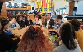 Green Party co-leader James Shaw meeting with students at the Victoria University of Wellington bar on 8 September, 2020.