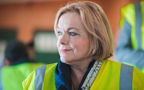 National Party leader Judith Collins at Tumu Timber in Hastings on her campaign in Hawke's Bay, on 8 September, 2020.