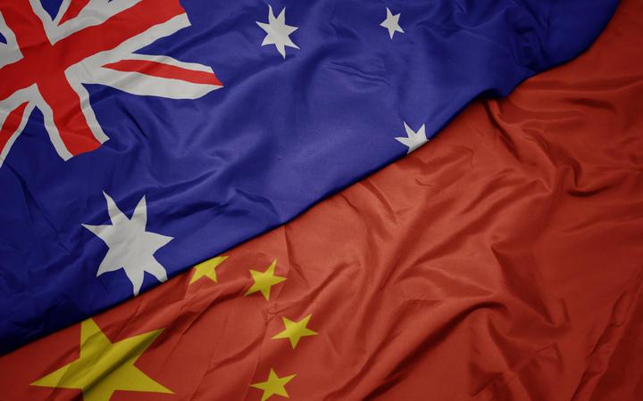 Australia and China flags.