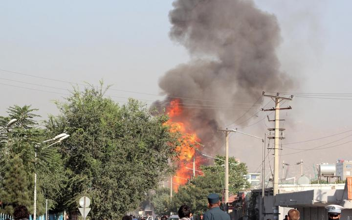 KABUL, AFGHANISTAN - SEPTEMBER 09: Flame and smoke rise following a bomb attack targeting Afghan Vice President Amrullah Saleh's convoy in Kabul, Afghanistan on September 09, 2020.