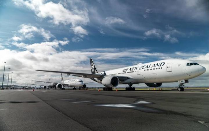 One of Air New Zealand's 777-200 aircraft, ZK-OKG, parked up in Auckland.
