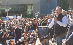 Advance Party co-leader Billy Te Kahika addresses the crowd demonstrating against the government's use of lockdowns and other Covid-19 restrictions on 12 September, 2020.