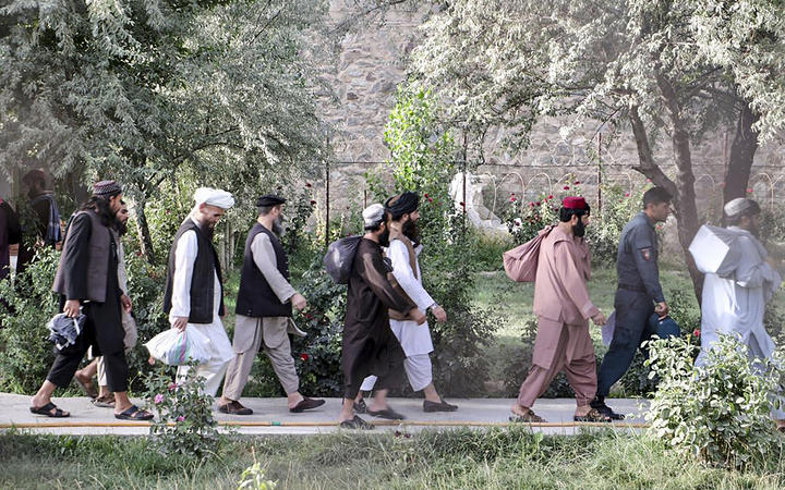 Taliban prisoners in the process of being released from Pul-e-Charkhi prison on the outskirts of Kabul on August 13, 2020.