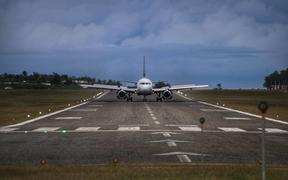 Airlines Airbus A320 lands at Munda airport, Western Province, Solomon Islands.