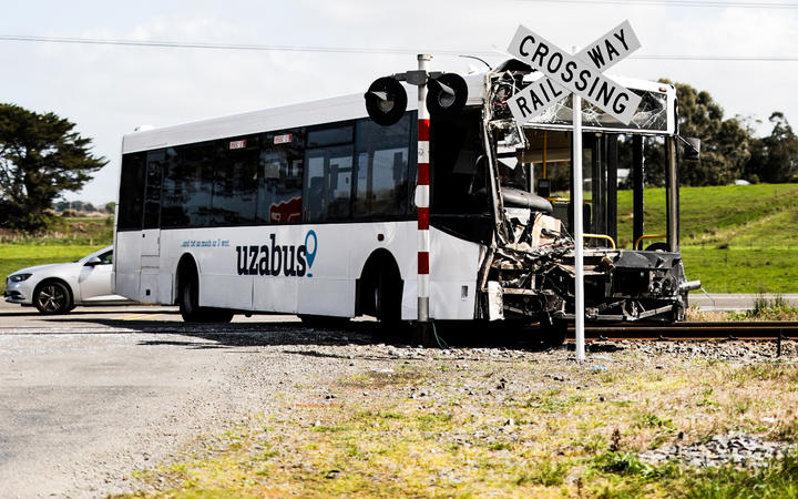 Forty one people were on board the bus when it collided with a train.