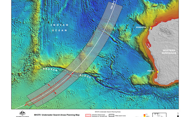 MH370 Underwater search area