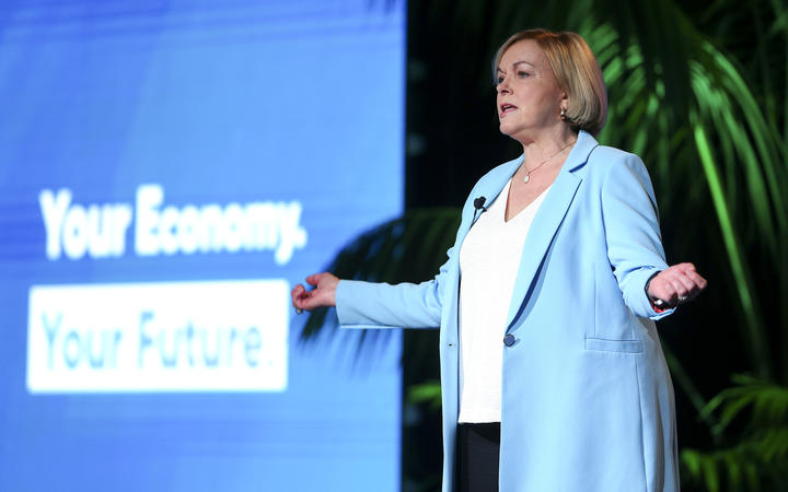 National Party Leader Judith Collins delivers a speech during the Virtual National Party 2020 Campaign Launch at Avalon Studios on September 20, 2020 in Wellington, New Zealand.