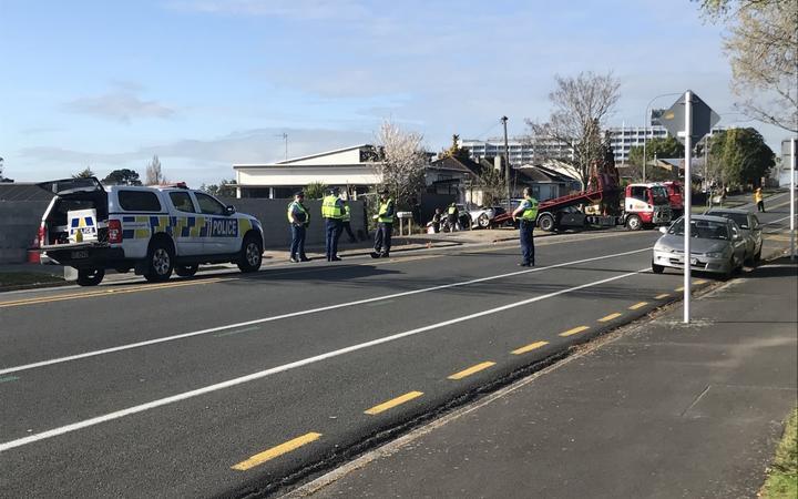 Police at the scene of a crash in Pembroke St, Hamilton.