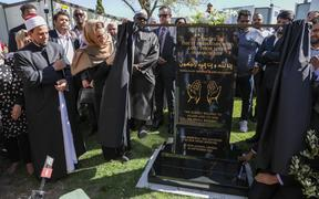 Prime Minister Jacinda Ardern at the Al Noor Mosque plaque unveiling on 24/9/2020