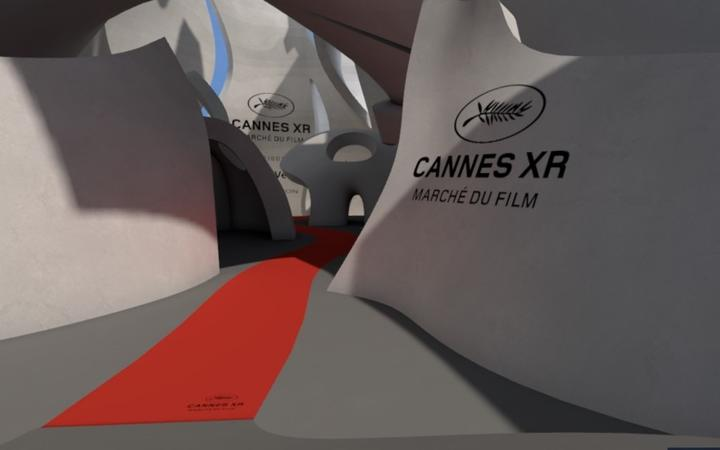 Cannes XR: The virtual entrance to the Cannes XR Film Festival in the Museum of Other Realities.